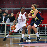 Galatasaray MP's Sylvia FOWLES (L) during their EuroLeague Women Basketball League game 2 match Galatasaray MP between Fenerbahce at the Abdi Ipekci Arena in Istanbul at Turkey on Friday, February, 05, 2011. Photo TURKPIX