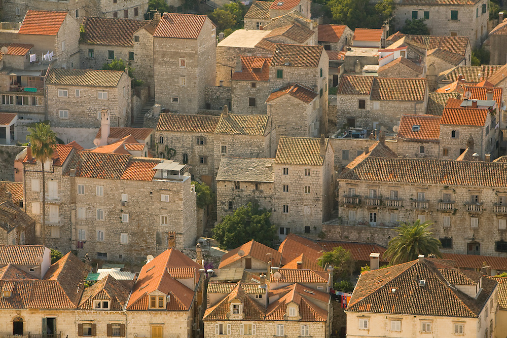Europe, Croatia, Dalmatia, Hvar Island, Hvar town.  View of town from the Citadel, a 16th century Venetian fort (also known as Spanjola).