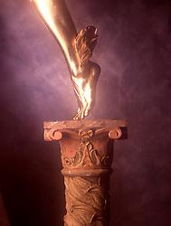 Symbolic gold covered leg of Mercury Icon iconic CONCEPT STOCK PHOTOS