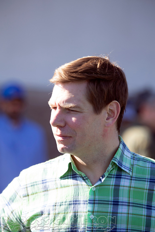 U.S. Rep. Eric Swalwell greets spectators at the annual St. Patrick's Day parade in Dublin, Calif. on Saturday, March 16, 2019. (Photo by D. Ross Cameron)