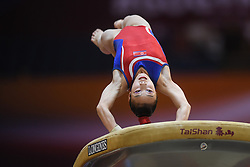 October 27, 2018 - Doha, Qatar - RYE YONG PYON from North Korea vaults during the second day of preliminary competition held at the Aspire Dome in Doha, Qatar. (Credit Image: © Amy Sanderson/ZUMA Wire)