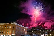 Fireworks over Aspen Mountain during the 2015 Aspen Winternational Audi FIS Ski World Cup event in Aspen, Colorado.
