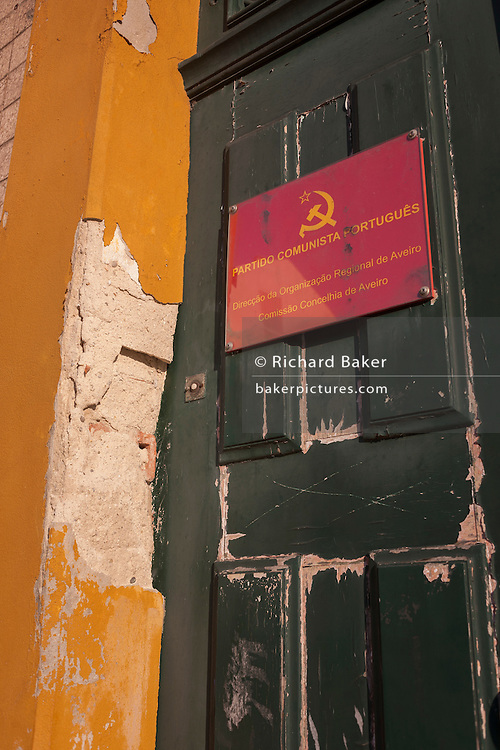 Doorway of the Communist party's regional offices on Avenida Dr. Lourenco Peixnho, in Aveiro, Portugal.
