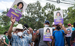 As the result of the trial of David Cáceres is awaited at the Supreme Justice Court, for his part in the assassination of Lenca leader Berta Cáceres, people carry posters that say Justicia para Berta - Justice for Berta