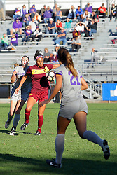 04 November 2016:  Mikayla Harvey(21), Sienna Cruz(11) and JBess Ruby(21) during an NCAA Missouri Valley Conference (MVC) Championship series women's semi-final soccer game between the Loyola Ramblers and the Evansville Purple Aces on Adelaide Street Field in Normal IL