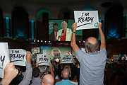 Delegates and party members hold Brexit party signs up with Im Ready written across them as Brexit Party member and south west MEP Ann Widdecombe speaks on stage at the final event of the Brexit Party Tour in London, United Kingdom on 27th September 2019. In the event of a general election being called, the party has already selected prospective parliamentary candidates in  constituencies across the UK .