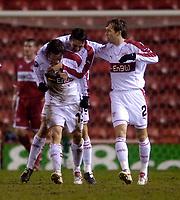 Photo: Jed Wee.<br /> Middlesbrough v Stuttgart. UEFA Cup. 23/02/2006.<br /> <br /> Stuttgart celebrate with goalscorer Christian Tiffert (L).