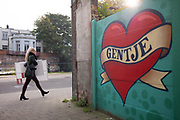 Gentje a heartshape Graffity to express the love for the city is puut on a wall at recollettenlei, ghent, Belgium 12.10.2015