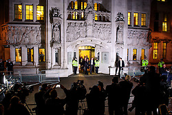 © Licensed to London News Pictures. 05/12/2016. London, UK. Investment manager GINA MILLER and her legal team are seen leaving  the Supreme Court  in Westminster, London at the end of the first day of a Supreme Court hearing to appeal against a November 3 High Court ruling that Article 50 cannot be triggered without a vote in Parliament. Photo credit: Ben Cawthra/LNP