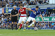 Gareth Barry of Everton holds off Marten de Roon of Middlesbrough. Premier league match, Everton v Middlesbrough at Goodison Park in Liverpool, Merseyside on Saturday 17th September 2016.<br /> pic by Chris Stading, Andrew Orchard sports photography.