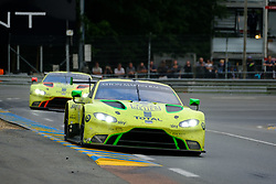 June 17, 2018 - Le Mans, Sarthe, France - Aston Martin Racing ASTON MARTIN Vantage AMR Driver ALEX LYNN (GBR) in action during the 86th edition of the 24 hours of Le Mans 2nd round of the FIA World Endurance Championship at the Sarthe circuit at Le Mans - France (Credit Image: © Pierre Stevenin via ZUMA Wire)