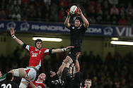 Ali Williams of New Zealand wins a lineout ball from Luke Charteris. Invesco Perpetual series 2008 autumn international match, Wales v New Zealand at the Millennium Stadium on Sat 22nd Nov 2008. pic by Andrew Orchard, Andrew Orchard sports photography,