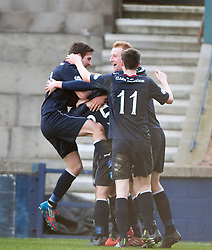 Falkirk's Rory Loy celebrates with team mates after scoring their third goal.<br /> Raith Rovers 2 v 4 Falkirk, Scottish Championship game today at Starks Park.<br /> © Michael Schofield.