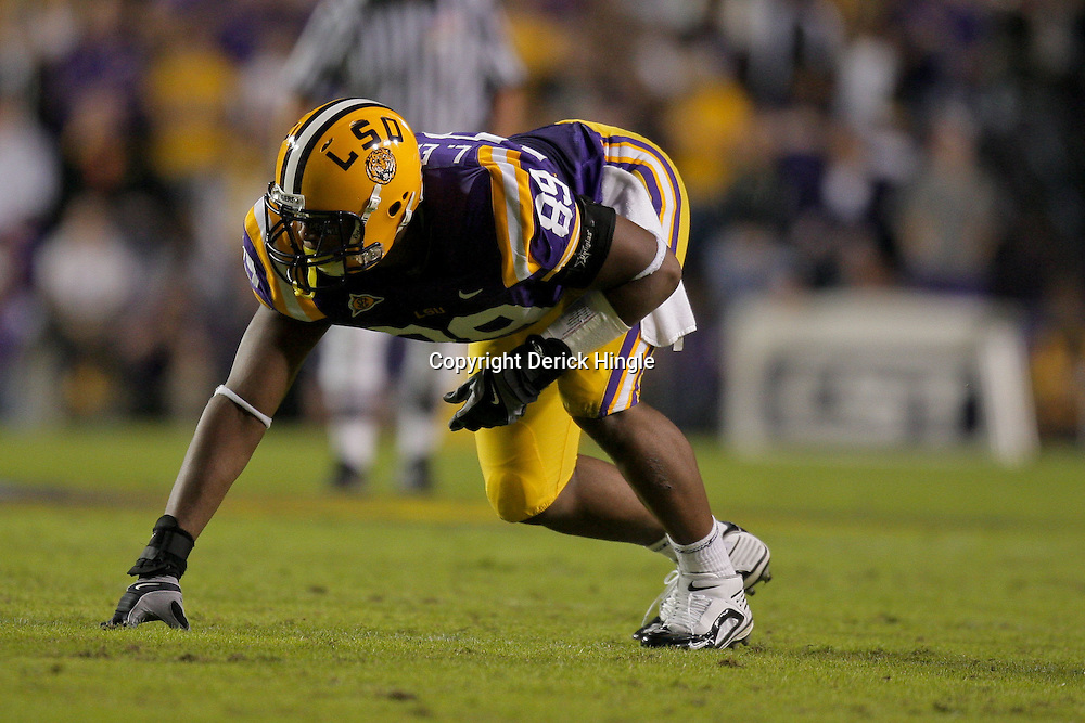 Nov 14, 2009; Baton Rouge, LA, USA;  LSU Tigers defensive tackle Lavar Edwards (89) lines up for a play against the Louisiana Tech Bulldogs during the first half at Tiger Stadium. LSU defeated Louisiana Tech 24-16. Mandatory Credit: Derick E. Hingle-US PRESSWIRE