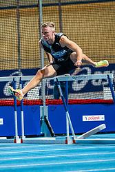 Koen Smet in action on the 60 meter hurdles during AA Drink Dutch Athletics Championship Indoor on 21 February 2021 in Apeldoorn.