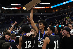 March 23, 2019 - Minneapolis, MN, USA - Hopkins forward Ezekiel  Nnaji (22) celebrated the win over Lakeville North with his student section at the end of the second half. ] ANTHONY SOUFFLE • anthony.souffle@startribune.com ....Lakeville North High School played Hopkins High School in MSHSL Class 4A boys' basketball championship game Saturday, March 23, 2019 at the Target Center in Minneapolis. (Credit Image: © Anthony Souffle/Minneapolis Star Tribune via ZUMA Wire)