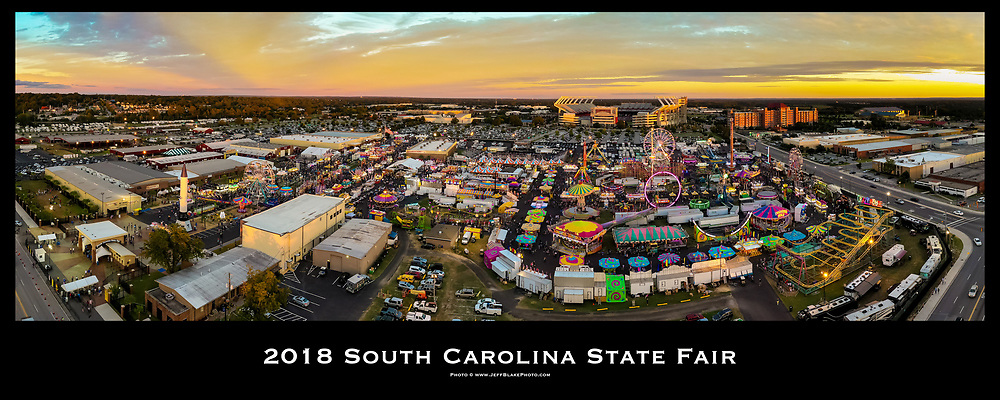Aerial drone panoramic photo of the 2018 South Carolina State Fair in Columbia, SC. Photo © www.Jeff BlakePhoto.com