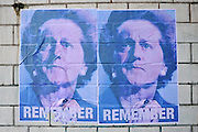 © under license to London News Pictures. 02/12/2010. A poster on a wall picturing David Cameron in the guise of Margaret Thatcher bearing the words 'remember'. Stamford Brook tube station, West London. London. Photo credit should read: Stephen Simpson/LNP