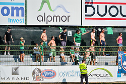 Fans of NK Krsko during football match between NS Mura and NK Krsko in 5th Round of Prva liga Telekom Slovenije 2018/19, on August 19, 2018 in Mestni stadion Fazanerija, Murska Sobota, Slovenia. Photo by Mario Horvat / Sportida