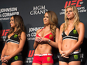 UFC Octagon Girls during the official UFC 187 weigh-in event at the MGM Grand in Las Vegas, Nevada on May 22, 2015. (Cooper Neill)