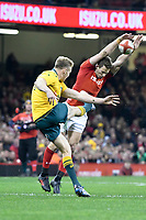 Rugby Union - 2017 Under Armour Series (Autumn Internationals) - Wales vs. Australia<br /> <br /> Liam Williams of Wales charges down the kick of Reece Hodge  of Australia , at The Principality Stadium (Millennium Stadium).<br /> <br /> COLORSPORT/WINSTON BYNORTH