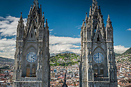 Quito, Ecuador, January 2020. Basilica del Voto Nacional. Quito, Ecuador's capital, sits high in the Andean foothills at an altitude of 2,850m. Constructed on the foundations of an ancient Incan city, it's known for its well-preserved colonial center, rich with 16th- and 17th-century churches and other structures blending European, Moorish and indigenous styles. Photo by Frits Meyst / MeystPhoto.com