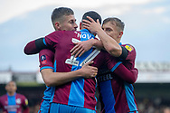 Goal Scunthorpe United celebrate as forward Lee Novak scores a goal to make it 2-0 during the The FA Cup 1st round match between Scunthorpe United and Burton Albion at Glanford Park, Scunthorpe, England on 10 November 2018.