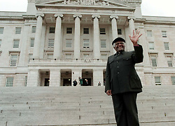 Archbishop Desmond Tutu on the steps of the Parliament Buildings, Stormont before his meeting with Northern Ireland's First Minister, David Trimble, today (Friday). Picture by Brian Little/PA