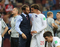 MOSCOW, July 11, 2018  England's head coach Gareth Southgate (C top) comforts Dele Alli after the 2018 FIFA World Cup semi-final match between England and Croatia in Moscow, Russia, July 11, 2018. Croatia won 2-1 and advanced to the final. (Credit Image: © Yang Lei/Xinhua via ZUMA Wire)