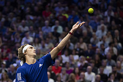 September 22, 2018 - Chicago, Illinois, U.S - Team Europe member ALEXANDER ZVEREV of Germany serves during the first singles match between Team Europe and Team World on Day Two of the Laver Cup at the United Center in Chicago, Illinois. (Credit Image: © Shelley Lipton/ZUMA Wire)