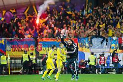 Players of Ukraine celebrate after the UEFA EURO 2016 Play-off for Final Tournament, Second leg between Slovenia and Ukraine, on November 17, 2015 in Stadium Ljudski vrt, Maribor, Slovenia. Photo by Urban Urbanc / Sportida