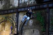 Nicolas Celaya/ URUGUAY/ MONTEVIDEO/ LA MURALLA<br /> En la foto, Actividades de vacaciones de invierno en el centro de escalada deportiva La Muralla en Montevideo. Nicolás Celaya /adhocFOTOS<br /> 2017 - 7 de julio - viernes