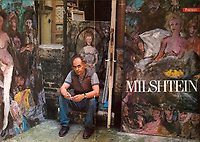 Painter Zwy Milshtein (25 June 1934- 4 Feb. 2020) was a French painter (born in Moldova) in his Paris studio for Beaux-Arts magazine.