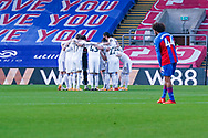 Leeds United players huddle during the Premier League match between Crystal Palace and Leeds United at Selhurst Park, London, England on 7 November 2020.