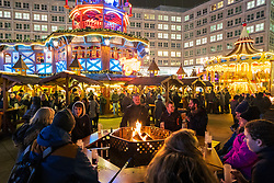 Berlin, Germany. 27 November, 2018. The traditional and world famous German Christmas Markets open to the public. This one is at Alexanderplatz below the traditional Pyramiden Treff or Pyramid meeting place.