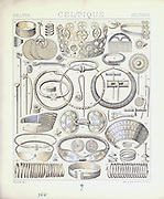 Ancient Celtic fashion and accessories from Geschichte des kostüms in chronologischer entwicklung (History of the costume in chronological development) by Racinet, A. (Auguste), 1825-1893. and Rosenberg, Adolf, 1850-1906, Volume 1 printed in Berlin in 1888
