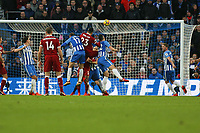 Football - 2017 / 2018 Premier League - Brighton and Hove Albion vs. Liverpool<br /> <br /> Emre Can of Liverpool heads in Liverpools opening goal at The Amex Stadium Brighton <br /> <br /> COLORSPORT/SHAUN BOGGUST