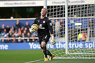 Kasper Schmeichel of Leicester City reacts after  QPR get a corner. Barclays Premier league match, Queens Park Rangers v Leicester city at Loftus Road in London on Saturday 29th November 2014.<br /> pic by John Patrick Fletcher, Andrew Orchard sports photography.