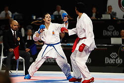 November 10, 2018 - Madrid, Madrid, Spain - Laura Palacio of Spain, Iran Team and Spain Team for the bronce medal and the third place of Female Kumite for Team tournament during the Finals of Karate World Championship celebrates in Wizink Center, Madrid, Spain, on November 10th, 2018. (Credit Image: © AFP7 via ZUMA Wire)