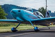 An RV-8 taxiing at Wings and Wheels at Oregon Aviation Historical Society.