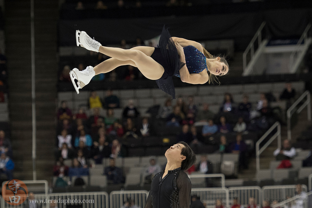 January 4, 2018; San Jose, CA, USA; Marissa Castelli and Mervin Tran performs in the pairs short program during the 2018 U.S. Figure Skating Championships at SAP Center.