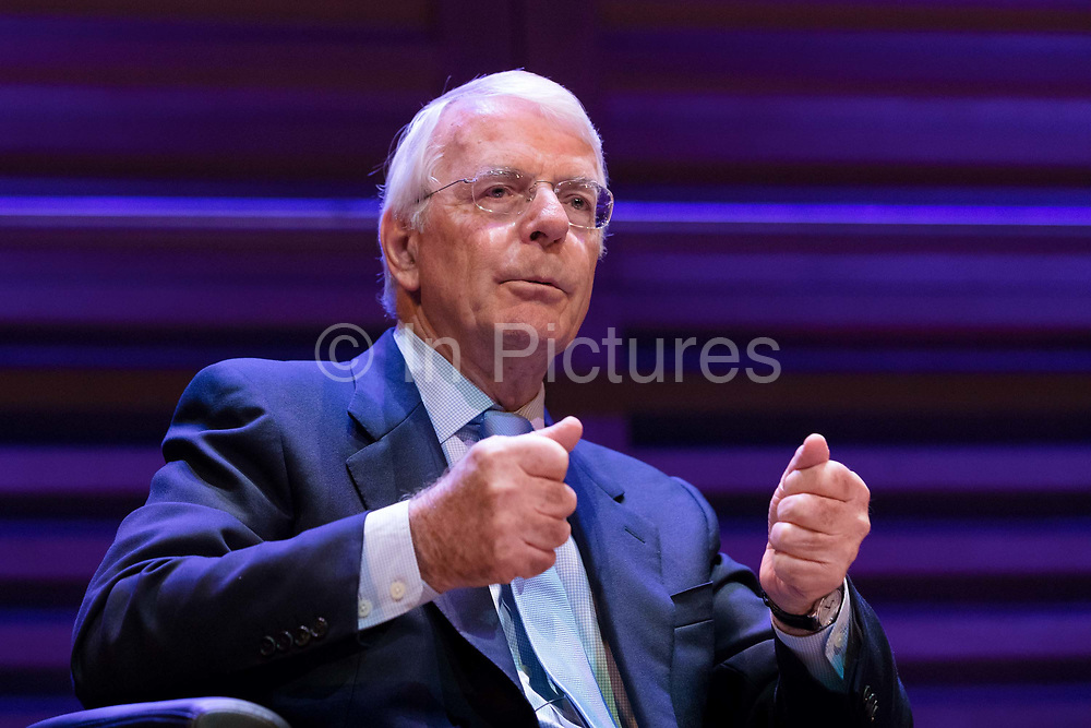Sir John Major speaking about Brexit and the European Union at the Politics Festival, held at Kings Place on June 22, 2018 in London, United Kingdom.
