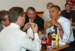 US President Barack Obama and President of Russia Dmitry Medvedev enjoy their cheeseburgers and fries at Ray's Hell Burger in Arlington, VA, USA on June 24, 2010. Photo by Martin H. Simon/ABACAPRESS.COM  | 235850_002 Arlington