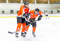 21.04.2016, Red Bull Akademie, Salzburg, AUT, OeSV, Skisprung, Eishockey Kurs, im Bild Michael Hayböck (AUT), Manuel Poppinger (AUT) // Michael Hayboeck of Austria checks Manuel Poppinger of Austria during a Icehockey Training of Austria Skijumping Team at the Red Bull Academy, Salzburg, Austria on 2016/04/21. EXPA Pictures © 2016, PhotoCredit: EXPA/ JFK