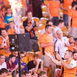 BRISBANE, AUSTRALIA - OCTOBER 13: Brisbane Roar The Den Capo Jacob Hiscock cheers on the fans during the Round 2 Hyundai A-League match between Brisbane Roar and Adelaide United on October 13, 2017 in Brisbane, Australia. (Photo by Patrick Kearney)