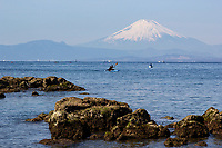 Mt Fuji at Shonan Beach - Mount Fuji or Fuji-san as it is called in Japan (not Fujiyama) is the highest mountain in Japan in altitude. Mt Fuji is an active volcano that last erupted in 1707; Mount Fuji's symmetrical cone is a well known symbol of Japan and is frequently visible in art, movies and photographs. Although Mount Fuji has not erupted in over 300 years its still not considered to be extinct. Shonan Beach has long been a popular escape from Tokyo and has a rich history. Many manga and films have been set at Shonan, especially in Kamakura, solidifying its reputation as a great escape from Tokyo. It is known for its views and perspective of Mt Fuji, tides, surfing, beaches and windsurfing.