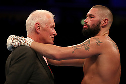 Barry Hearn (left) with Tony Bellew after his defeat by Oleksandr Usyk after their WBC, WBA, IBF, WBO & Ring Magazine Cruiserweight World Championship bout at Manchester Arena.