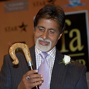 Leeds, 7th June 07 IIFA  IIndian International Film Academy) Indian actress Shilpa Shetty and legend Amitabh Bachchan  here receiving as a gift a Yorkshire  walking stick, handmade and especially carvedat press conference for the opening of the IIFA ..EXCLUSIVE WORDWIDE TO REX FEATURES