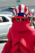 BAR HARBOR, MAINE, July 4, 2014. The Rotary Club's mascot for the Independence Day Parade wears a lobster costume.