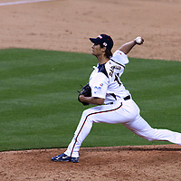 22 March 2009: #11 Yu Darvish of Japan pitches the last inning against USA during the 2009 World Baseball Classic semifinal game at Dodger Stadium in Los Angeles, California, USA. Japan wins 9-4 over Team USA.